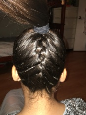 4 - Upside Down French Braid with Braid Bun On Top