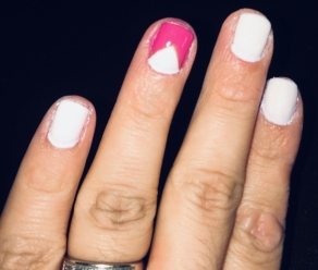 Essie - Marshmallow (white) and Mod Square (pink)