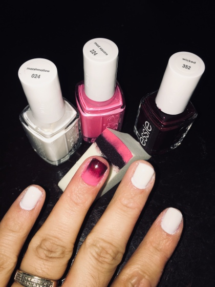 Essie - Marshmallow (white), Mod Square (pink) and Wicked (dark)