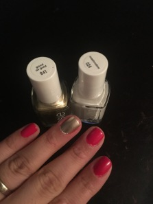 Essie in Good as Gold and Watermelon, Color Not used Marshmallow