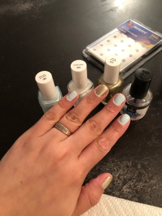 Essie: Find Me An Oasis (blue), Marshmallow (white) and Good As Gold (gold) Tools: Avery Reinforcement Labels