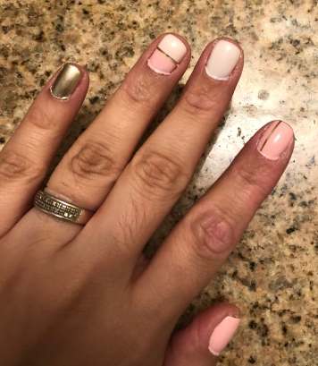 Essie: Fiji (pink), Marshmallow (white) and Good As Gold (gold) Tools: Nail Striping Tape in Gold
