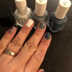 Essie: Glitter Polish (not Essie), Blanc (white), Petal Pushers (gray) and Anchor Down (blueish-gray)