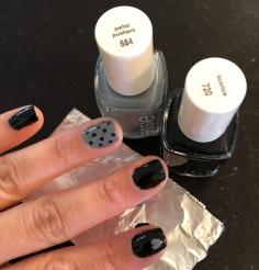 Essie: Licorice (black) and Petal Pushers (gray)