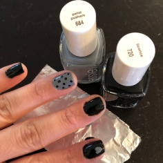 Essie: Licorice (black) and Petal Pushers (gray)