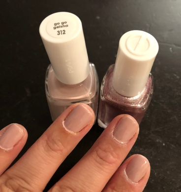 Essie: Go Go Geisha (nude) and S'il Vous Play (pink with glitter)