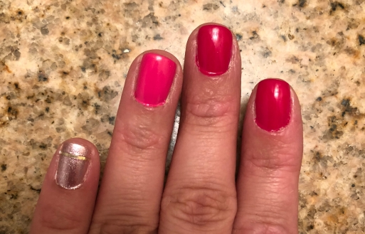 Essie: S'il Vous Play (gold), Mod Square (pink) and Bachelorette Bash (darker pink)