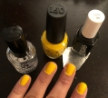 OPI Exotic Birds Do Not Tweet (canary yellow) and Essie Licorice (black)
