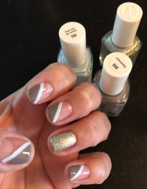 Essie: Chinchilly (gray), Find Me An Oasis (blue) and Beyond Cozy (glitter)