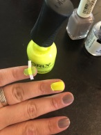 Orly: Road Tripin (neon yellow) and Essie: Chinchilly (gray)